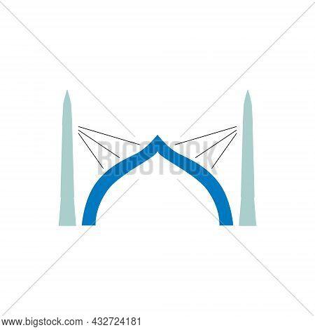 Sinamale Bridge Flat Icon. China Maldives Friendship Bridge The First Cross Sea Bridge In The Maldiv