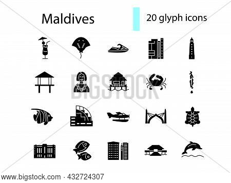 Maldives Glyph Icons Set. Tourism Guide. Exotic Resort. Bungalow Hotel. Capital Male Buildings. Blac