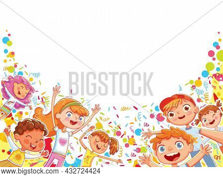 Children Are Having Fun At The Holiday. Ready Template For Your Design. Colorful Cartoon Characters.