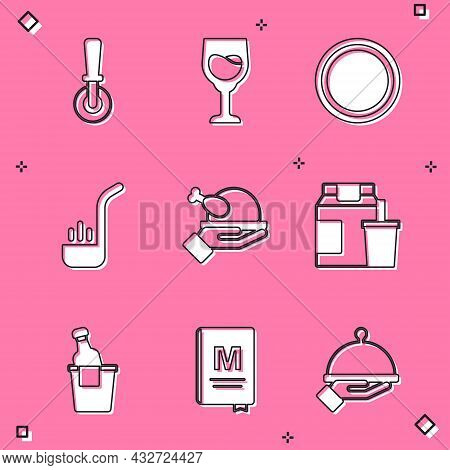 Set Pizza Knife, Wine Glass, Plate, Kitchen Ladle, Roasted Turkey Or Chicken, Online Ordering And De
