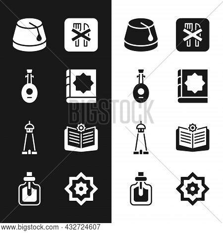 Set Holy Book Of Koran, Lute, Turkish Hat, Ramadan Fasting, Mosque Tower Minaret, Octagonal Star And