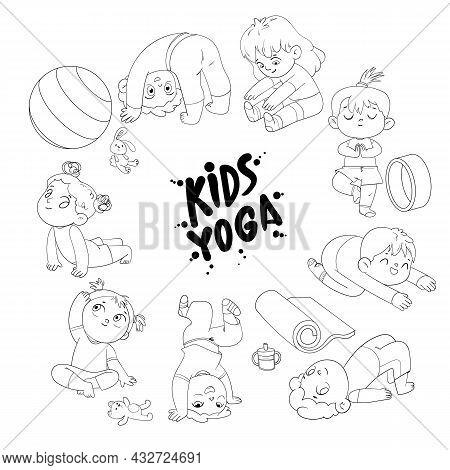 Kids Yoga. Funny Cartoon Character. Vector Illustration. Coloring Book