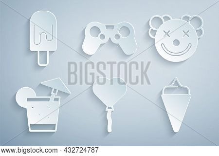 Set Balloons In Form Of Heart, Clown Head, Cocktail, Ice Cream Waffle Cone, Gamepad And Icon. Vector