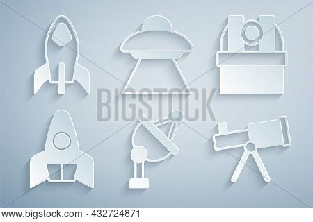Set Satellite Dish, Astronomical Observatory, Rocket Ship, Telescope, Ufo Flying Spaceship And Icon.
