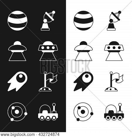 Set Ufo Flying Spaceship, Planet, Satellite Dish, Comet Falling Down Fast, Moon With Flag, Mars Rove