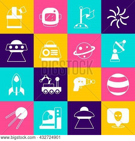 Set Alien, Planet, Satellite Dish, Moon With Flag, Space Capsule, Ufo Flying Spaceship, Astronomical
