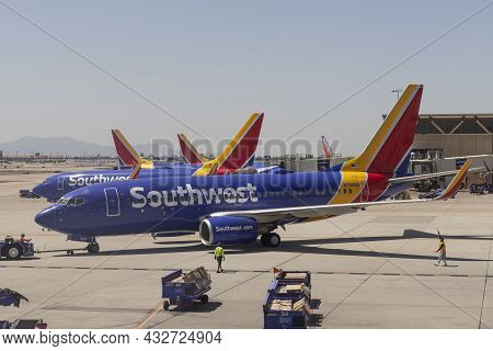 Phoenix - Circa September 2021: Southwest Airlines Boeing 737s Preparing For Departure. Southwest Is