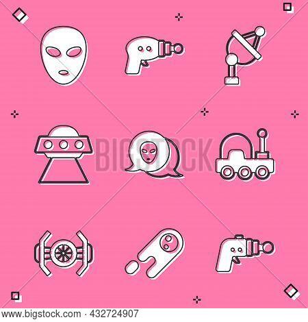 Set Alien, Ray Gun, Satellite Dish, Ufo Flying Spaceship, Mars Rover, Cosmic And Comet Falling Down