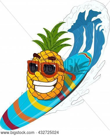 Pineapple Enjoys Surfing, No One Will Miss It. Summer Fun.