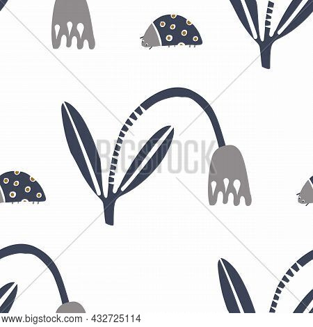 Masculine Drawn Doodle Flower Motif Seamless Pattern. Classic Retro Modern Shape For Digital Scrapbo