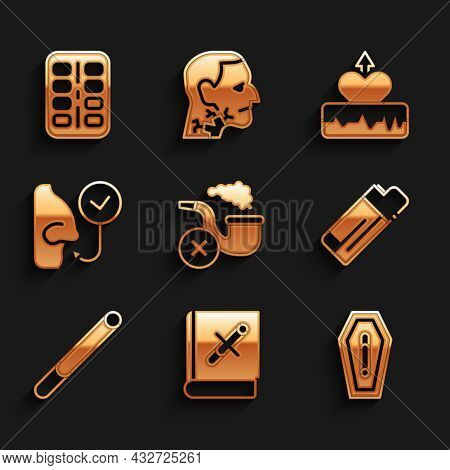 Set Smoking Pipe With Smoke, Book Stop Cigarette, Death From Smoking, Lighter, Cigarette, Healthy Br