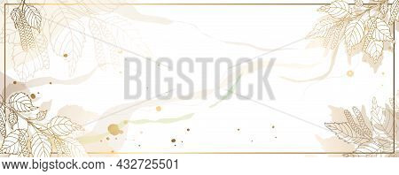 Luxurious Golden Wallpaper With Leaves And Branches. White Background And Beautiful Golden Birch Lea