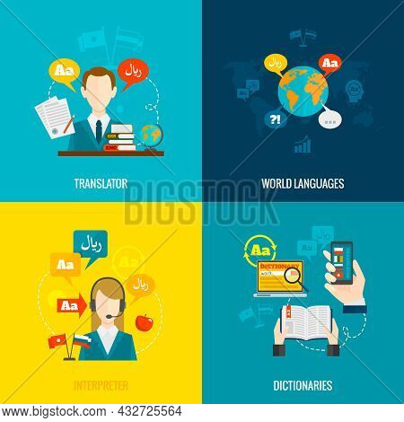 World Languages Translator Interpreter 4 Flat  Icons Composition With Computer Electronic Mobile Dic