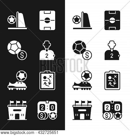 Set Football Or Soccer Player, Soccer Football, Goal With, Field, Shoes, Planning Strategy Concept,