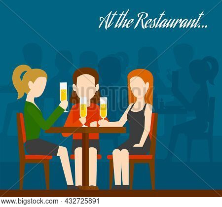 Three Young Girls Sitting At Table Drinking Champagne With People Silhouettes On Background Friends