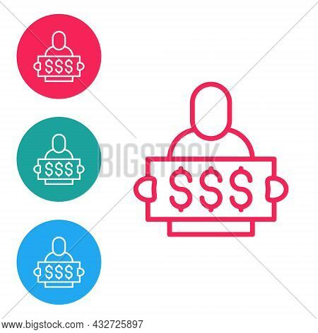 Red Line Fortune Lottery Win Composition With Lucky Winner Holding Prize Ticket Icon Isolated On Whi