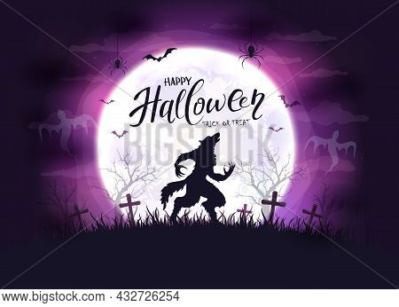Lettering Happy Halloween And Scary Werewolf In Cemetery On Purple Background With Big Moon. Illustr
