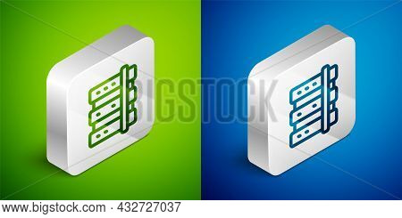 Isometric Line Server, Data, Web Hosting Icon Isolated On Green And Blue Background. Silver Square B