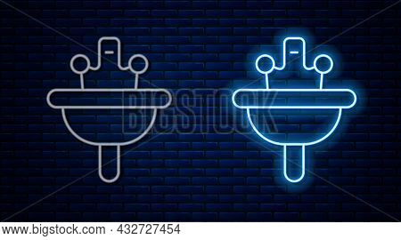 Glowing Neon Line Washbasin With Water Tap Icon Isolated On Brick Wall Background. Vector