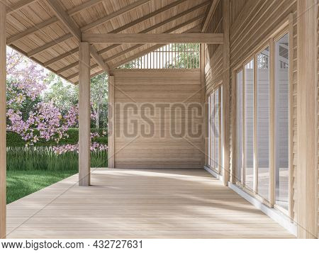 Empty Wooden Terrace With Blank Plank Wall 3d Render,surrounded With Green Garden And Pink Flower Bl