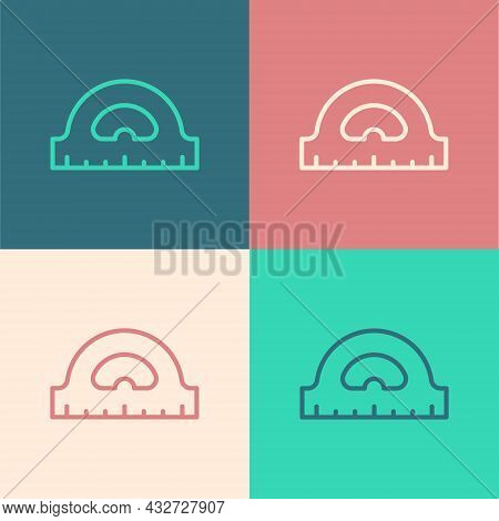 Pop Art Line Protractor Grid For Measuring Degrees Icon Isolated On Color Background. Tilt Angle Met