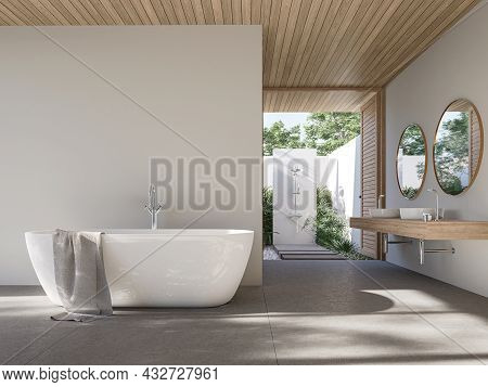 Modern Contemporary Loft Bathroom With Outdoor Shower 3d Render,there Are Concrete Tile Floor And Wh