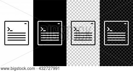 Set Line Software, Web Developer Programming Code Icon Isolated On Black And White, Transparent Back