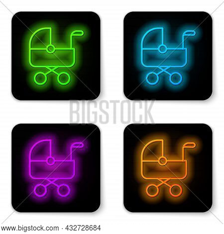 Glowing Neon Line Baby Stroller Icon Isolated On White Background. Baby Carriage, Buggy, Pram, Strol