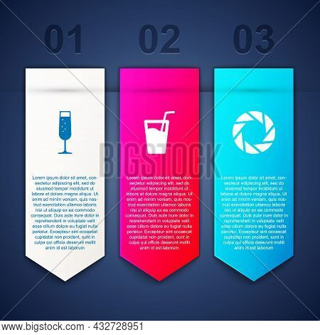 Set Glass Of Champagne, With Water And Camera Shutter. Business Infographic Template. Vector