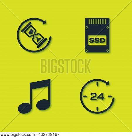 Set Waiting, Clock 24 Hours, Music Note, Tone And Ssd Card Icon. Vector