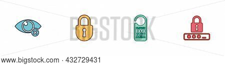 Set Invisible Or Hide, Lock, Please Do Not Disturb And Password Protection Icon. Vector