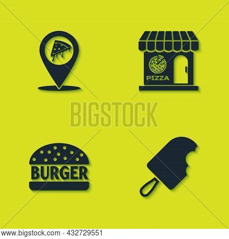 Set Location With Slice Pizza, Ice Cream, Burger And Pizzeria Building Facade Icon. Vector