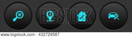 Set Microorganisms Under Magnifier, Location Service, House And Car Icon. Vector