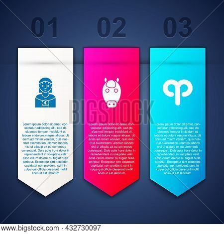 Set Astrology Woman, Horse Zodiac And Aries. Business Infographic Template. Vector