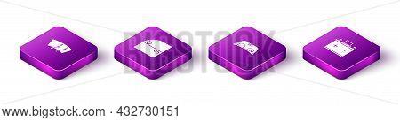 Set Isometric Windscreen Wiper, Car Door, Windscreen And Battery Icon. Vector