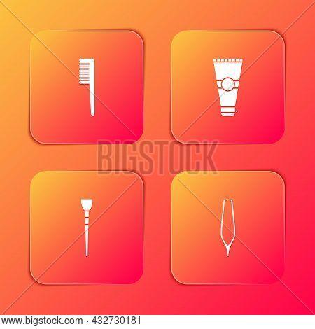 Set Hairbrush, Lotion Cosmetic Tube, Makeup And Eyebrow Tweezers Icon. Vector
