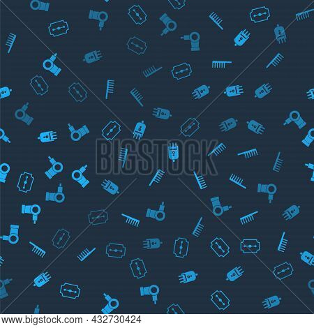 Set Blade Razor, Hairbrush, Electrical Hair Clipper Shaver And Dryer On Seamless Pattern. Vector