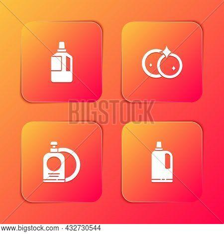Set Fabric Softener, Washing Dishes, Dishwashing Liquid Bottle And Plate And Icon. Vector