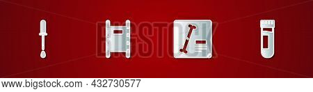 Set Pipette, Stretcher, X-ray Shots And Test Tube With Blood Icon. Vector
