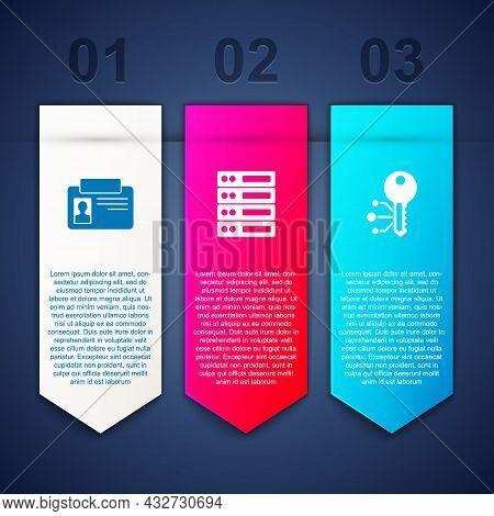 Set Identification Badge, Server, Data, Web Hosting And Cryptocurrency Key. Business Infographic Tem