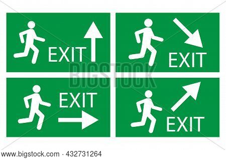 Exit Sign With Arrow Up, Right, Down On Green Background. Safety Notice Emblem. Vector Illustration.