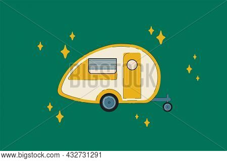 Camper Rv For Camping. The Vehicle Is A Road House For Recreation. A Camping Trailer, A Mobile Home,