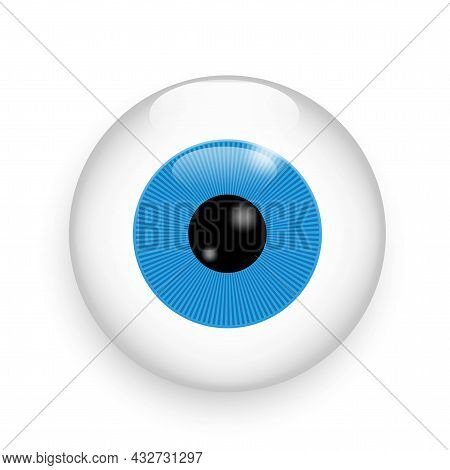 Isolated Realistic Blue Eyeball. 3d Illustration Close Up On White Backdrop. Hand Drawn. Vector Illu