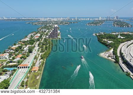 Aerial View Of Venetian Causeway And Islands, North Biscayne Bay And Miami Beach, Florida On Clear S