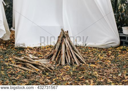 Wood Stack Bonfire In Forest Campsite Setting. Campfire Logging Pile, Wood Trunks Or Tree Logs. Prep