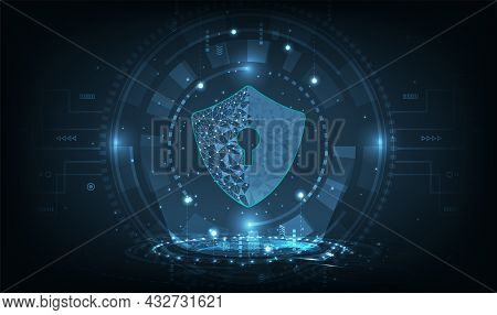 Cyber Security And Internet Network Protection Concept.computer Protection Virus Attack With Shield