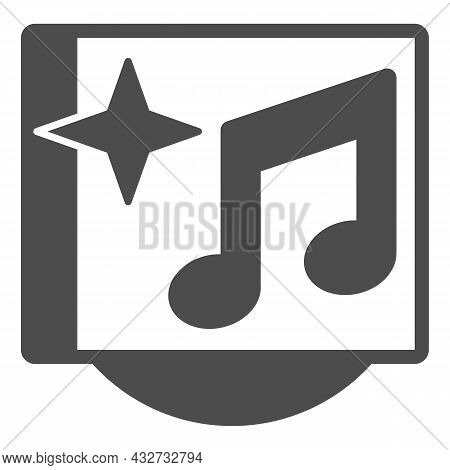 Musical Cd Cover With Star And Note Solid Icon, Sound Design Concept, Music Album Vector Sign On Whi