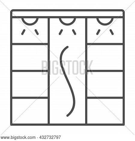 Sliding Wardrobe With Lamps Thin Line Icon, Interior Design Concept, Closet With Lighting Vector Sig