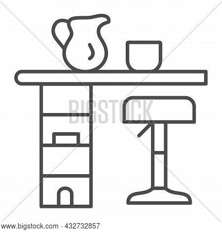 Bar Counter With Stool, Cup And Pot Thin Line Icon, Interior Design Concept, Bar Table Vector Sign O