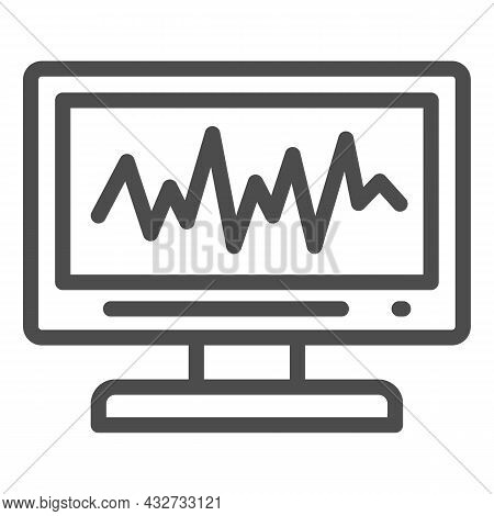 Sound Level On Monitor Line Icon, Sound Design Concept, Sound Wave Curve On Screen Vector Sign On Wh